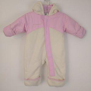 Columbia Pink and Cream Snowsuit Fleece 12 Month